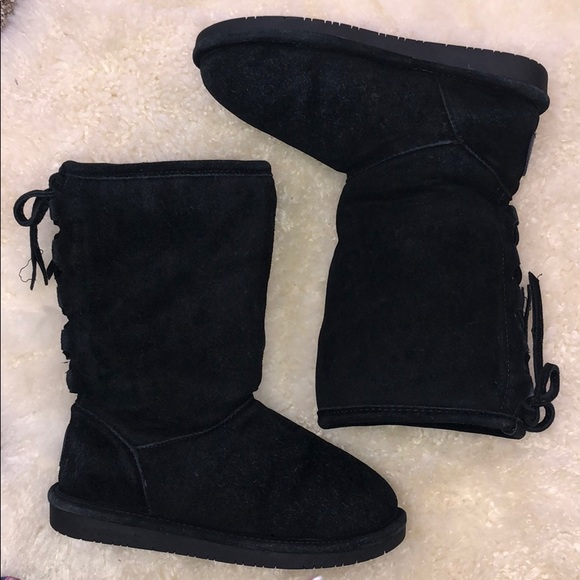 1b5b62135928f BearPaw Shoes | Black Suede Sherpa Lined Boots Mid Calf | Poshmark